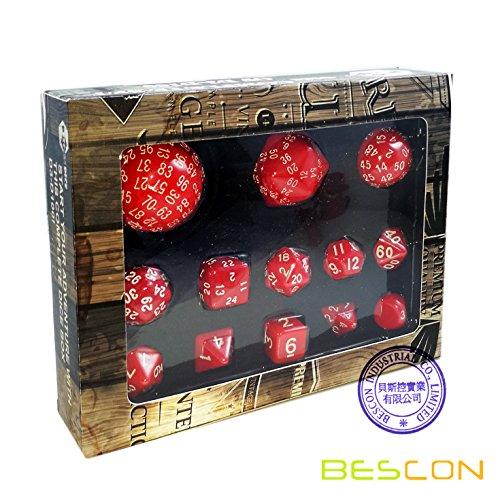Bescon Vollständige Polygonal Polyedrische Würfel Set 13pcs D3-D100, Dungeons und Dragons Würfel Set D3 D4 D6 D8 D10 D% D12 D20 D24 D30 D50 D60 D100 Rot Farbe