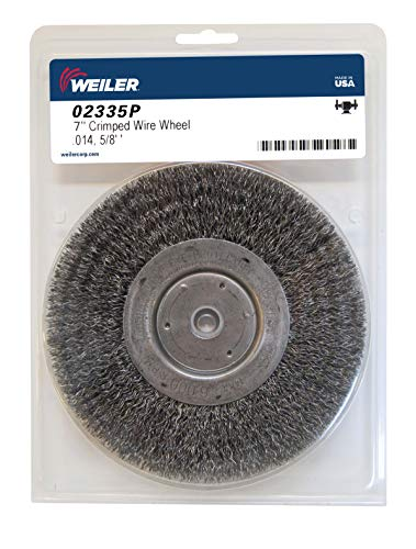 Weiler 02335 7' Wolverine Medium Face Bench Grinder Wheel, .014' Crimped Steel Wire Fill, 5/8' Arbor Hole, Made in the USA