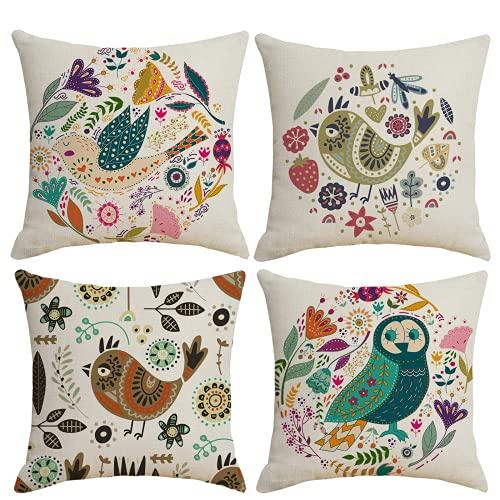 Juego de 4 Fundas de Almohada para Amantes de los pájaros, Funda de cojín para decoración del hogar, para sofá, sofá, Lino de poliéster, 45 x 45 cm