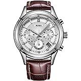 BUREI Cronografo quadrante bianco orologio da polso al quarzo con resistente ai graffi minerale di...
