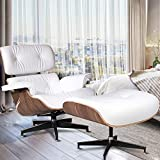 JOYBASE Recliner with Ottoman, Classic Lounge Chair, Genuine Leather Recliner, Wood Bending Plate (White Leather & Light Walnut)