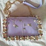 Mdsfe Flores de Encaje Bolsas de Mensajero para Mujer Bolsos Cruzados de Cuero Bolso Cuadrado de niña Dulce Bolso de Hombro Femenino Bolso - Violeta