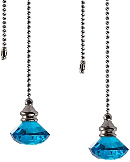 2 Pcs Crystal Ceiling Fan Pull Chains Ornaments Crystal Prism Glass Pendants With 2 Free Pull Chain Extension Adjustable Length Longsheng