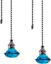 Ceiling Fan Pull Chain Set - 2 Pieces Light Blue Diamond Fan Pull Chains 20 Inch Ceiling Fan Chain Extender with Chain Con...