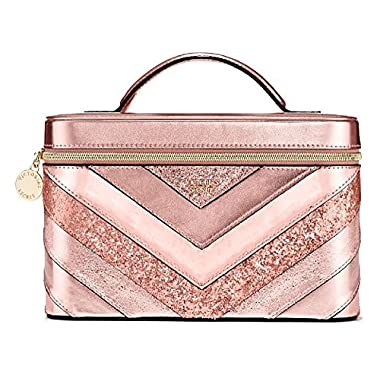 Victoria's Secret Pink Sparkle V-Quilt Shimmer Vanity Train Case 9 x 6 x 6