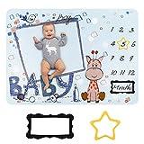 HALOVIE Manta Mensual de Hito para Bebé Unisex para Fotos Fotografía de fondo para recién nacidos 130 x 100 cm Franela Regalos para Mamás Registros de Crecimiento Mensual Suave
