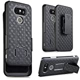 MICROSEVEN Compatible with LG G5 Case, Super Slim Hard Shell Holster Case Combo with Kickstand and Belt Swivel Clip for LG G5 Packaging (Wave Black)