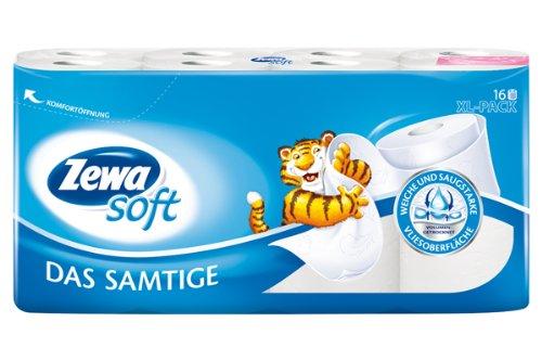 """Zewa Soft Toilettenpapier \""""Das Samtige\"""" weiss, 16 Rollen"""