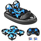 2.4G Quadcopter, 3 in 1 Mini JJRC H36F RC Drone Remote Control Car/Boat/Quadcopter Mode with 360° Flips Stunt Headless Mode, Simulation Hovercraft for Kids Gifts,Flight/Land/Water Mode
