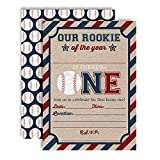 Rookie of The Year Baseball Themed 1st Birthday Party Invitations for Boys, 20 5'x7' Fill in Cards with Twenty White Envelopes by AmandaCreation