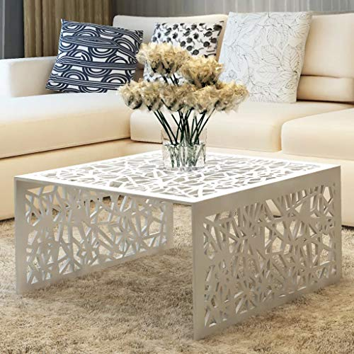 vidaXL Tavolino per caffè Alluminio Design Moderno Geometrico Traforato Argento