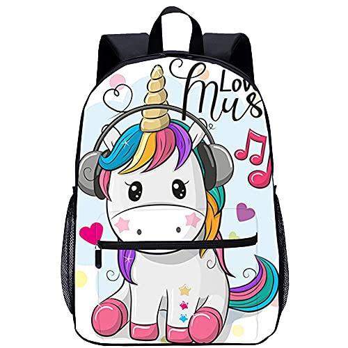 BOVIENCHE Mochila unisex con estampado 3D Mochila de unicornio Niños Niñas Mochila escolar informal Mochila Patrones de dibujos animados Bolsos de hombro Perfecto para la escuela y los viajes