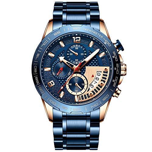 Voigoo Edelstahl Herrenuhren Top-Marke Luxury Business Luminous Chronograph Quarz-Uhr Relogio Masculino