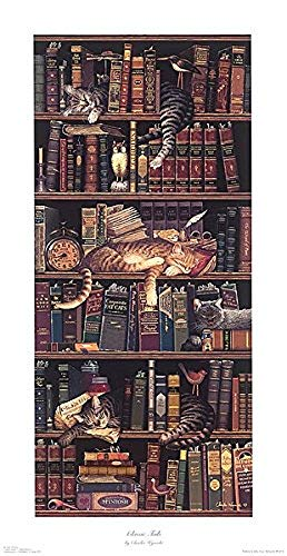 Classic Tails a Fine Art Print by Charles Wysocki Cats Books Humor, Image Size: 7.75x19.75, Overall Size: 10x22