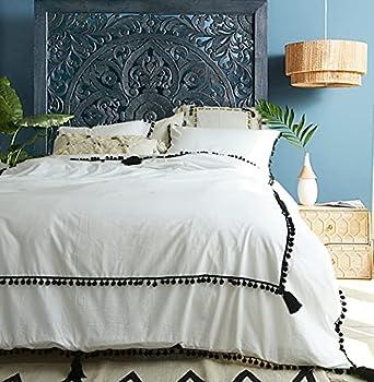 Black And White Duvet Cover Queen Pom Pom Black Boho Bedding Tassel Comforter 86 x 90