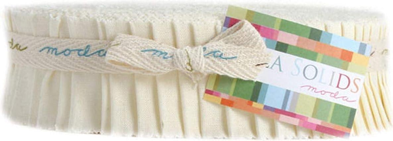 Bella Solids Snow Honey Bun 40 1.5-inch Strips Moda Fabrics 9900HB 11