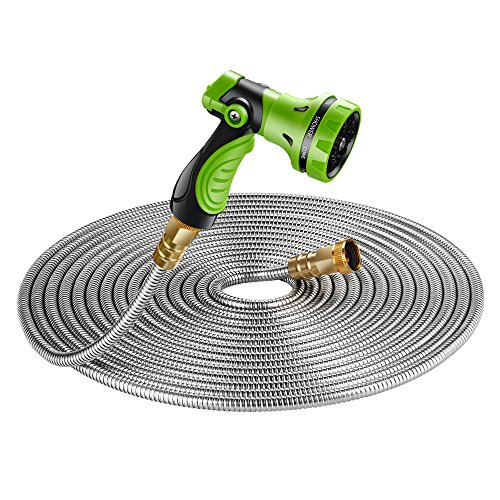 Beaulife New 304 Stainless Steel Metal Garden Hose with 8 Functions Metal Garden Hose Nozzle...