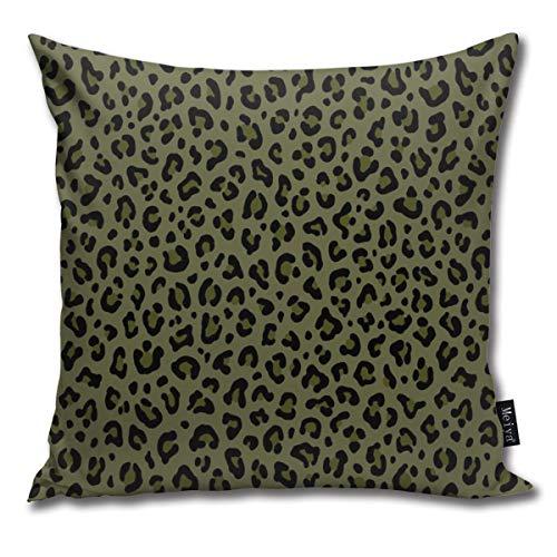 Ameok-Design - Funda de cojín, diseño de camuflaje de leopardo en verde oliva, colección de lunares de leopardo, diseño de roca punk, funda de cojín cuadrada para sofá, dormitorio, coche, 45,7 x 45,7 cm