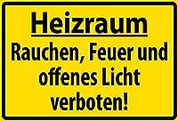 Heizraum Rauchen Feuer Licht Verboten メタルポスター壁画ショップ看板ショップ看板表示板金属板ブリキ看板情報防水装飾レストラン日本食料品店カフェ旅行用品誕生日新年クリスマスパーティーギフト