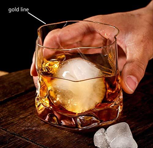 Theekopjes,Wijn Cocktailglas Whisky Kort Glas Europees Japans Bar Creatieve Persoonlijkheid Whisky Bierglas Drinken Brandy Cup 8.5 * 8.2cm gouden lijn