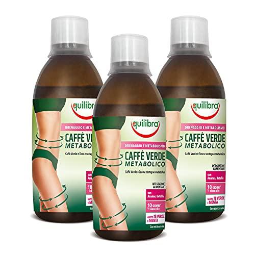 Equilibra Integratore Alimentare Caffè Verde Metabolico, Confezione da 3 Pezzi x 500 ml