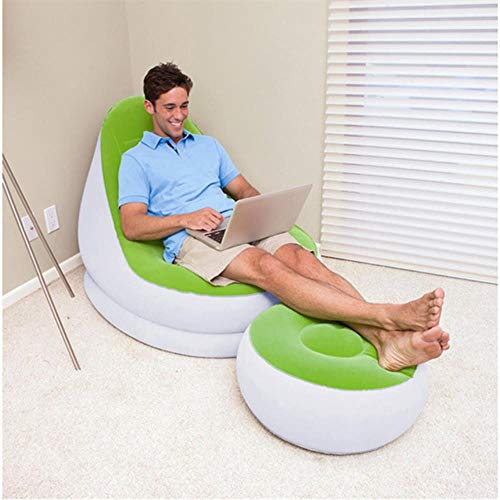 Luie man buitenshuis sofa vouwen opblaasbare zachte comfortabele massaal stof slaapbank creatieve banken met voetenbank, luchtpomp