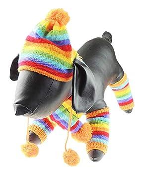 Glamour Girlz Écharpe d'hiver chaude en tricot pour chiens et chats (arc-en-ciel, taille M)
