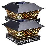 Siedinlar Lampe Solaire Exterieur Blanc Chaud Lampe LED Métal Étanche pour Jardin Clôture Poteaux en Bois 4x4 5x5 inch (Lot de 2)