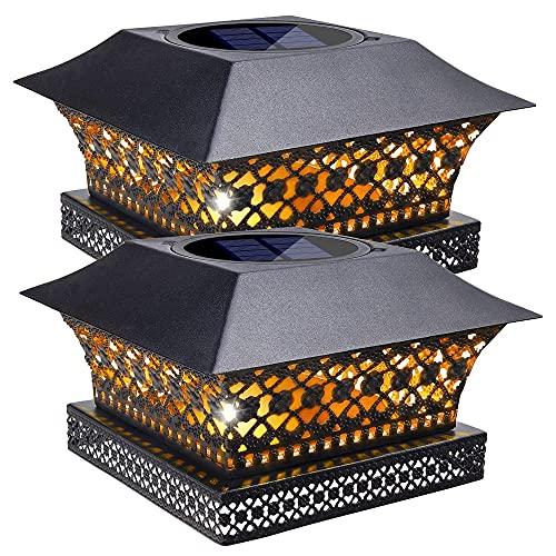Siedinlar Solar Pfostenleuchte Solarlampen für Außen Warmweiss LED Lampe Metall Wasserdicht Garten Deko für 10x10 12x12 cm Zaun Hölzerne Pfosten (2 Stück)