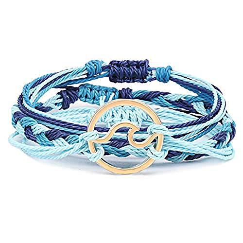 Yaootely 3 Piezas Pulsera Ola Surfista De Verano Pulsera Amistad Ajustable Joya Artesanal Mujeres Hombres Azul