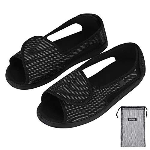 Damenschuhe Extra Weit Verbandsschuhe Damen Sandalen Rehaschuhe mit Klettverschluss Damensandalen Weiche Gummisohle Therapieschuhe Atmungsaktive Sandaletten Schuhe für Erwachsene Senioren