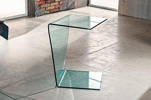 IMAGO FACTORY Atlas - Tavolino servetto - Tavolo Lampada in Vetro curvato