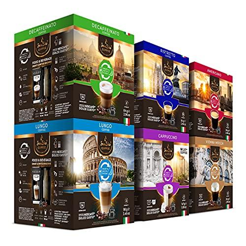 SanSiro® Kaffee Probierset 1 | für alle Dolce Gusto® Systeme | 84 Kaffeekapseln | Kaffee in Italien geröstet | Geschaffen für alle Kaffeegenießer