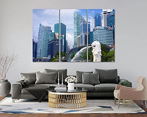 QUANQUAN Quadro su Tela - 3 Pezzi 150 * 70CM Stampa su Tela Quadri su Tela 3 Pannelli Stampe Paesaggio Urbano Singapore HD Poster Murale Quadri Decorazioni per Casa Moderni Soggiorno XXL