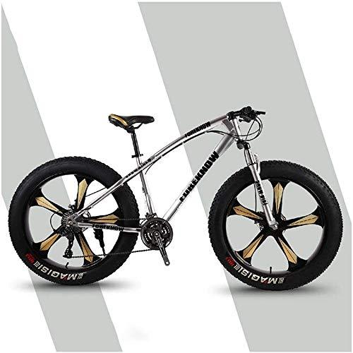 Aoyo Mountain Trail Fahrrad, Fat Tire, MTB, All-Terrain, 26-Zoll-24 Geschwindigkeiten, Fahrrad, High Carbon Stahl, Mountain Bikes, Vorderradaufhängung Doppelscheibenbremse, 5 Spoke, Farbe: Silber