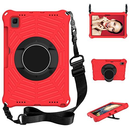 WHWOLF Adecuado para Samsung Galaxy Tab S6 Lite Funda (SM-P610/ SM-P615) 10.4' Carcasa Tableta para niños EVA Ligera a Prueba de Golpes con Soporte Plegable, Correa para el Hombro, asa-Rojo