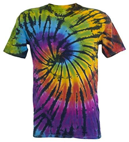 Tie Dye Contrast Rainbow/Black Spiral T-Shirt XL