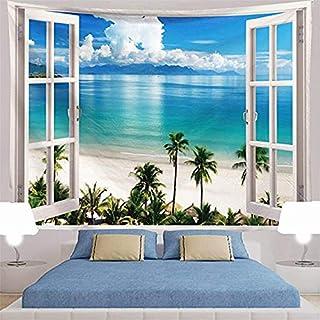ジャション ハワイビーチ ココナッツヤシの木 壁掛けタペストリー 自然景観シーン トロピカルアイランド 壁飾り 家 部屋 リビングルーム ベッドルーム おしゃれ飾り 150*150cm