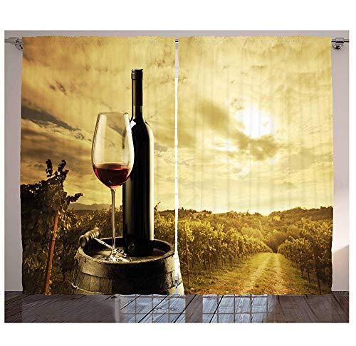 MUXIAND wijngordijnen rode wijnfles en glas op houten vat Dramatische lucht landbouw woonkamer slaapkamer raamdecoratie paneel