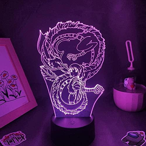 Lámpara de ilusión 3D luz nocturna LED LED Dragón blanco Figura 7 Lámpara de mesa de color regalos de amigos para niños Decoración de escritorio para dormitorio
