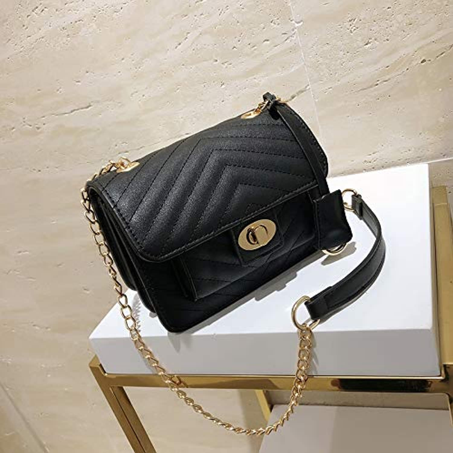 WANGZHAO Pure color Chain Small Square Bag Joker Fashion Single Shoulder Bag Small Bag