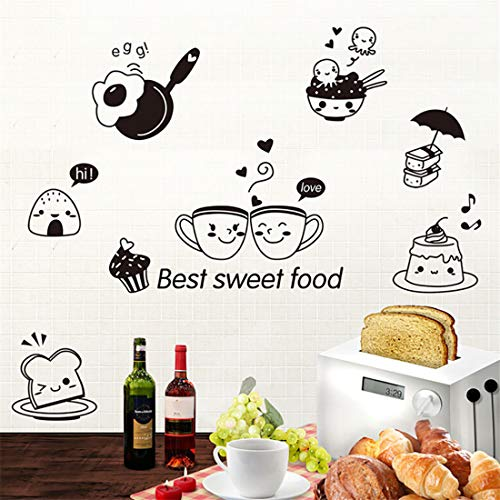Freeby Best Sweet Food Kitchen Wall Stickers Move DIY Coffee Sweet Food Art Decal Decoration Oven (Black, 20x30cm)