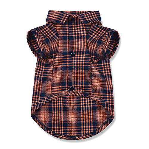 CtilFelix Dog Shirt Plaid for Small Dogs Cats Puppy Boy Girl Dog Clothes Soft Pet Polo T-Shirt Breathable Cat Shirt Clothes Tee Adorable Halloween Thanksgiving [Orange#2; Large]