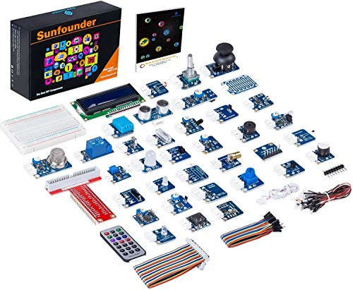 SunFounder 37 Modules Sensor Kit V2.0 for Raspberry Pi 4B, 3, 2 and RPi Model B+, 40-Pin GPIO Extension Board Jump wires with English Manual(MEHRWEG)