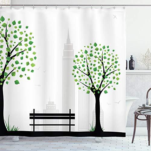 ABAKUHAUS Duschvorhang, Simpler Comic Design mit Einem Park Bank Zwischen Zwei Baumen Grün Schwarz Silber Digital Druck, Wasser und Blickdicht aus Stoff mit 12 Ringen Bakterie Resistent, 175 X 200 cm