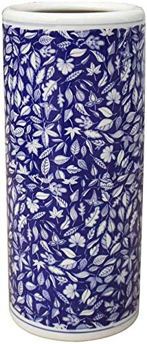 LXDDP Portaombrelli per Ufficio in Ceramica Portaombrelli per Ingresso, Porcellana Floreale Blu e Bianca