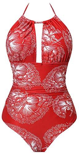 I2CRAZY Womens Plus Size Swimsuits Deep V Neck Top High Cut Bottom Monokini Printed Bathing Suit - 2XL,Flower-05