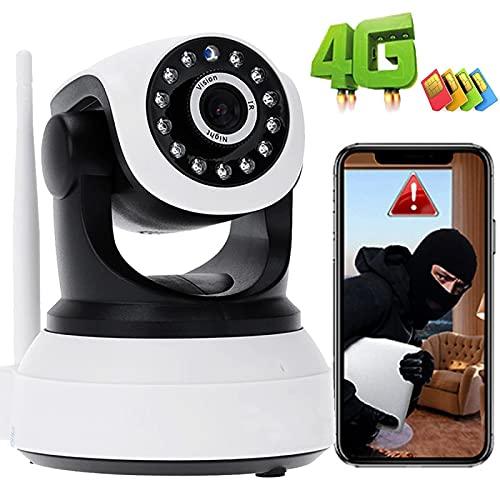 Monitor De BeBé 3G/4G SIM Tarjeta IP Cámara De Interior PTZ IP Vigilancia CCTV Cámara 1080P HD,Visión Nocturna,Detección Movimiento,iOS/Android,Audio Bidireccional,Alarma Remota,APP:CamHi 【4G-Cámara】