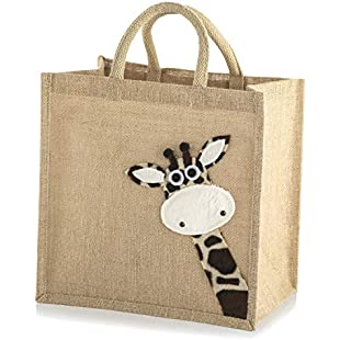 Customer reviews Jute Hessian Medium Animal Shopping Bag (Giraffe)
