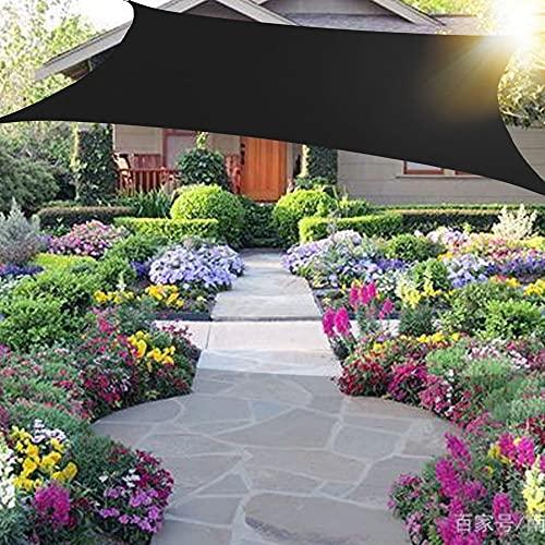 Wsaman Sonnensegel Rechteckiges 6x4m - inkl. Befestigungsseile - Sonnensegel Sonnenschutz 100% HDPE Wasserabweisend mit UV Schutz - mit Befestigungsset für Garten/Balkon/Terrasse,Black